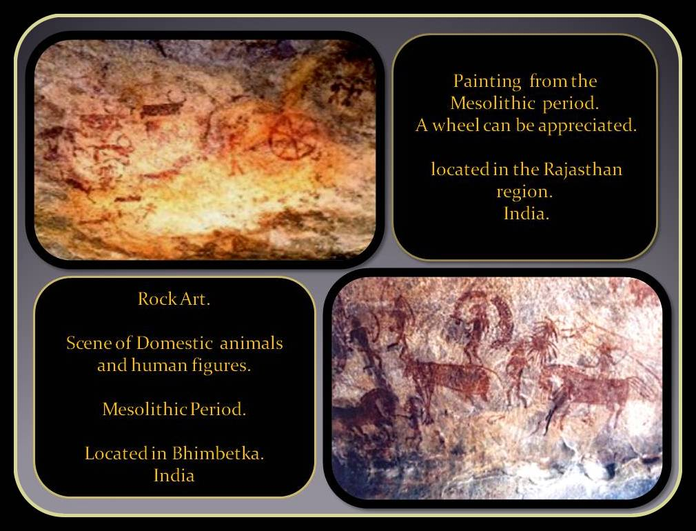 rock mesolithic art with domestic scenes