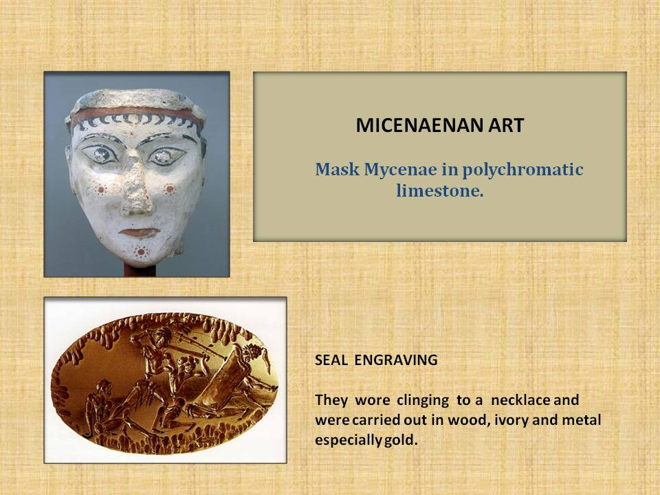 Mask Mycenae in polychromatic limestone