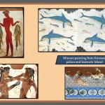Minoan painting from Knossos Palace and Santorini Island