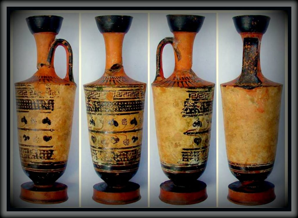 lekythos. Greek pottery for storing oil. Black figures.
