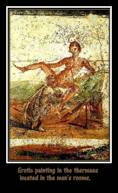 Erotic painting in public bathrooms in Roman's thermae