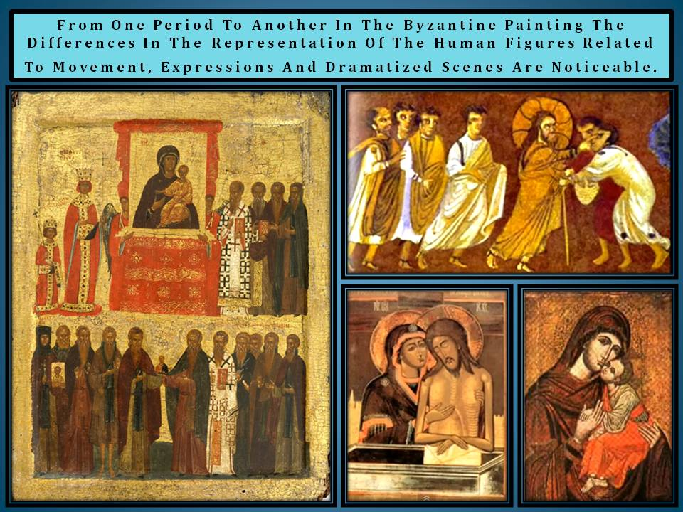 Byzantine painting transformation along time
