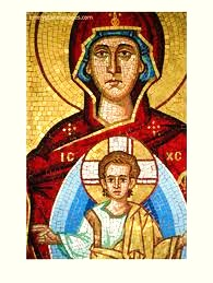 The Virgen and the child. Byzantine Mosaic