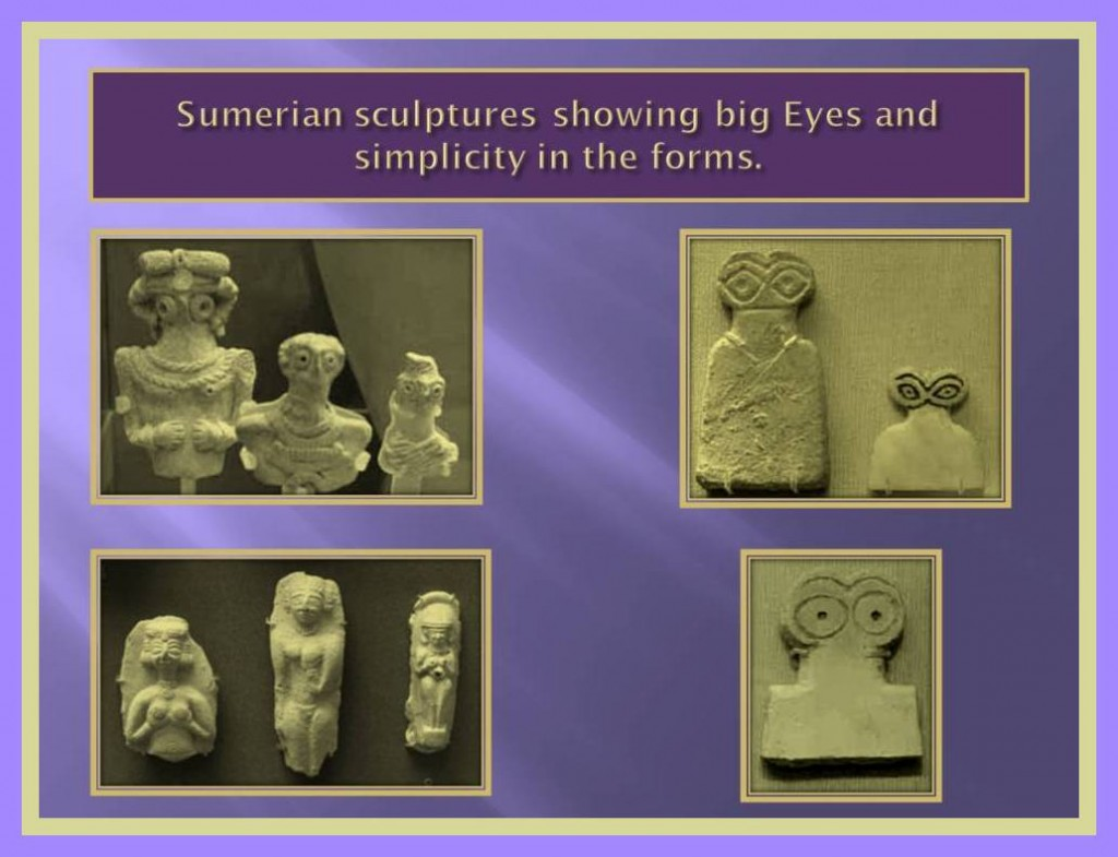Sumerian sculptures with big eyes