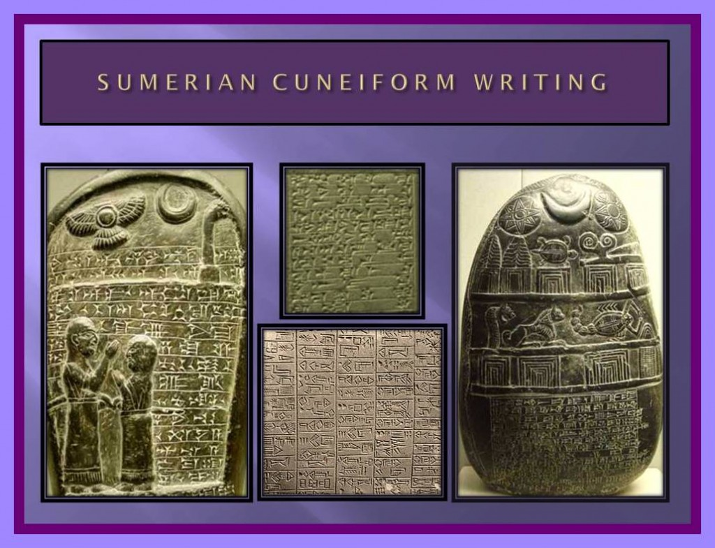 Sumerian cuneiform writing over stones and clay tablets