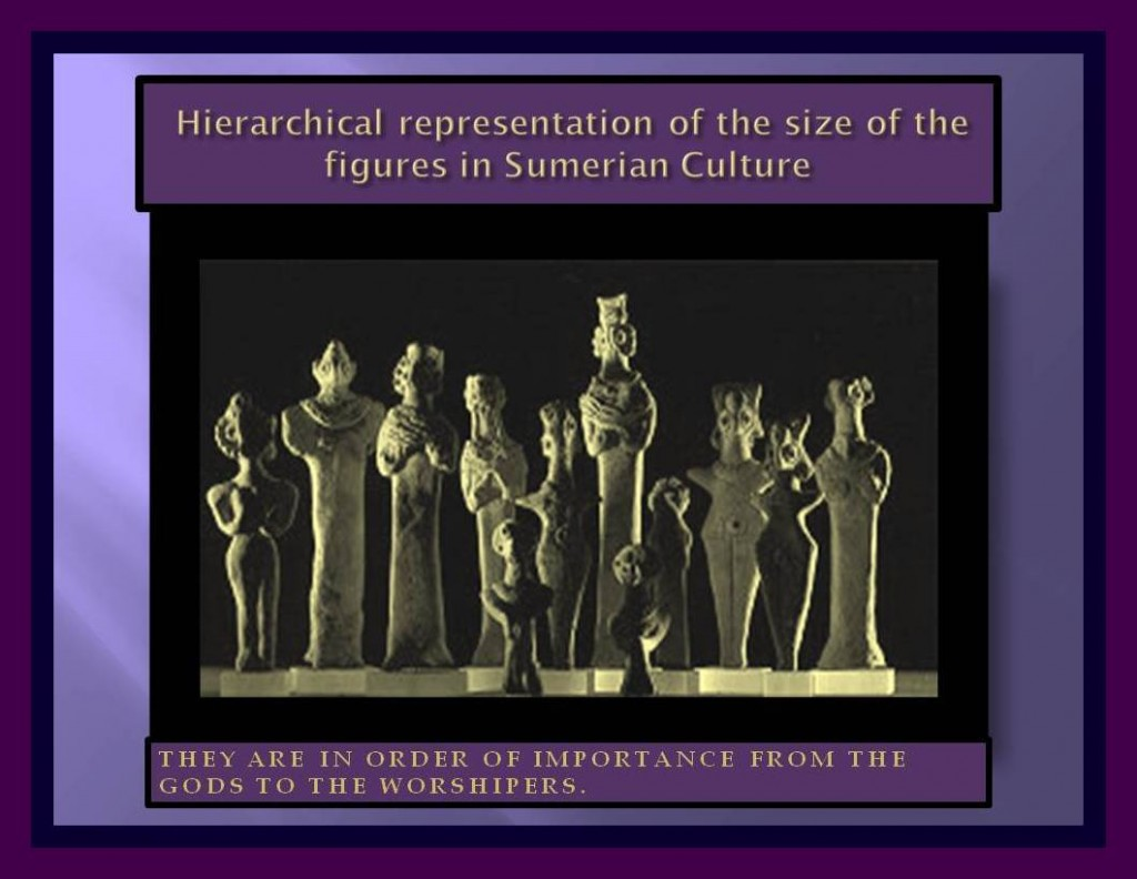 Hierarchical representation in figures in Sumerian culture