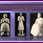 Sumerian and Assirian Sculptures with overlapping hands on each other