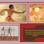 Painting representing sport in etruscan art.
