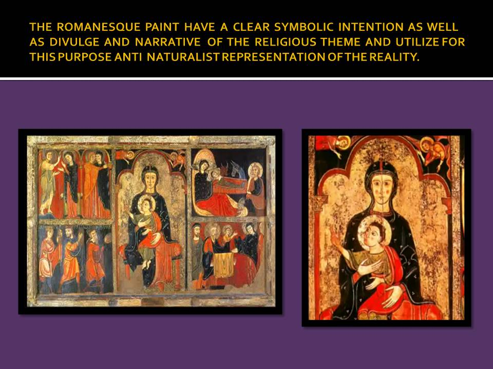 Antinatural representation of the figures in Romanesque paint to serve the narrative and divulge purpose.