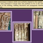 Forced size and positions of figures in the capitals od the buildings in Romanesque Arquitecture.