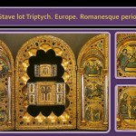 Romanesque Metal work Art. Stave lot Triptych