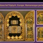 Romanesque Metal work Art. Stave lot Triptych
