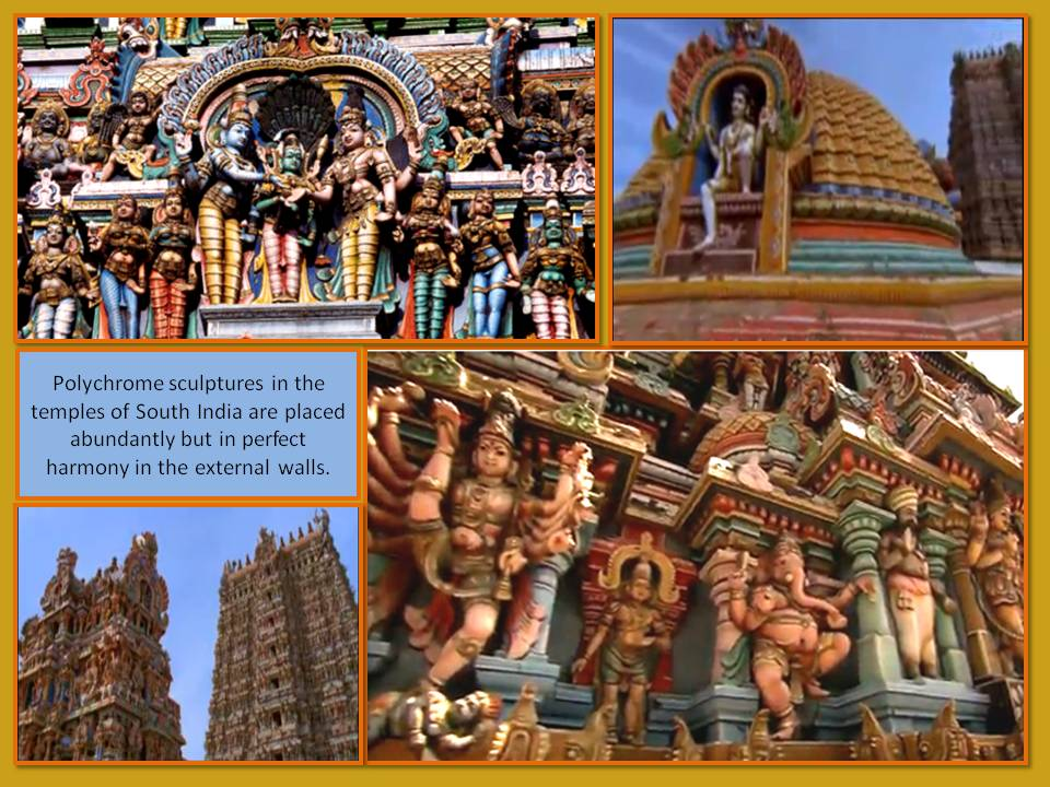 Polychrome sculptures in the temples of South India