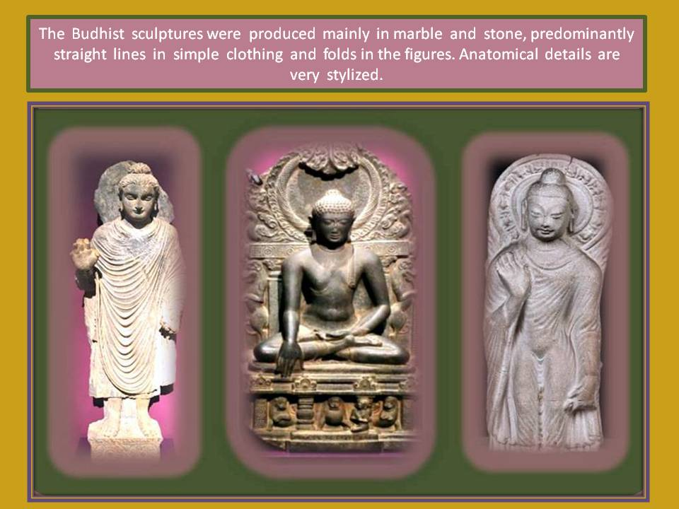 Stylized Buthist sculptures
