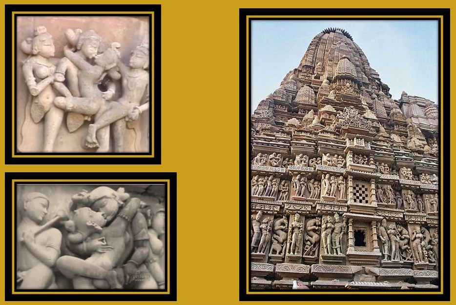 sculptures in the outer walls of the temples in Khajuraho.