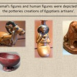 animal and human figures depictions in Egyptian ceramic.
