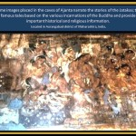 <wbr>Painting in <wbr>Ajanta <wbr>Cave narrating the <wbr>Jatakas tales of <wbr>Budda