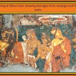painting at Ellora Cave with damages