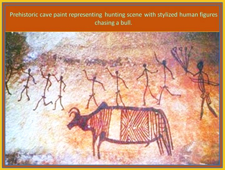 prehistoric paint with hunting scene
