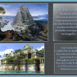 artistic representation over Babylon mythical buildings