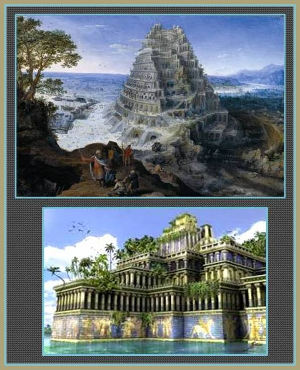 artistic representation over Babylon mythical buildings