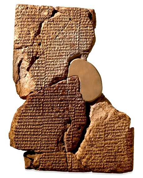 clay tablet  with cuneiform writing conteining the legend of Atrahasia. British Museum colletions.