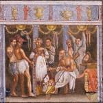 Actores de Coregos alrededor de un musico con aulos.Mosaico de Pompeya