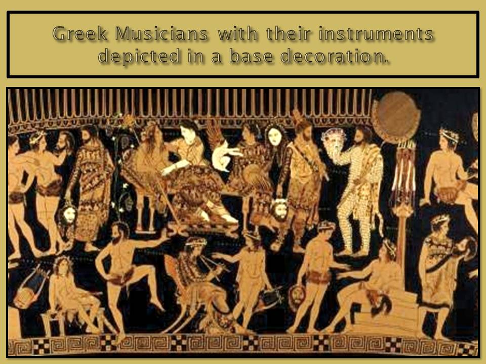 Greek musicians in ancient times depicted in vase decorations.