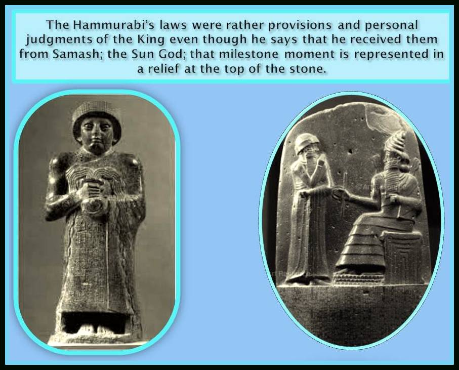 Samash giving to Hammurabi the code of laws.