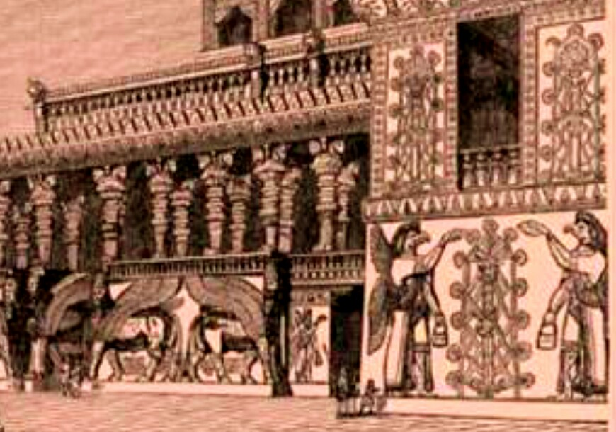 Artistic reproduction of Assyrian Palace Wall decorations.
