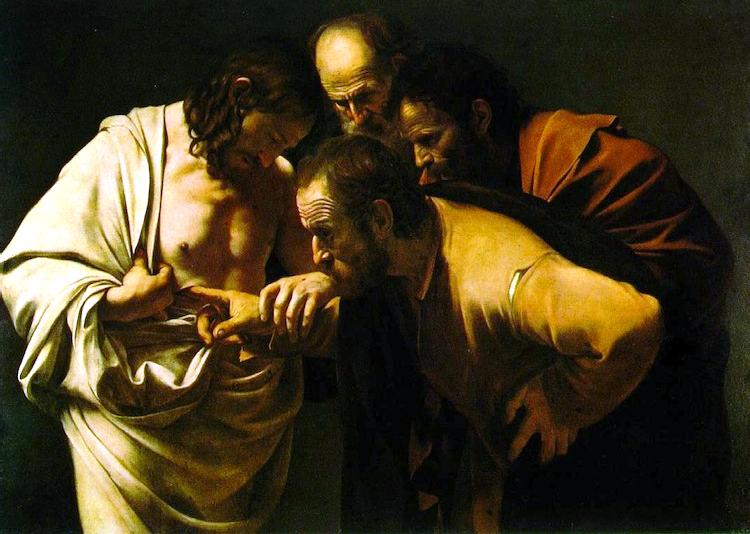 The incredulity of Saint Tomas. By Caravaggio.